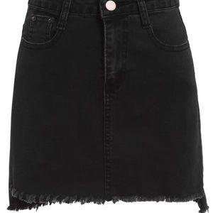 Black Stretchy Denim Mini Skirt Frayed Hem